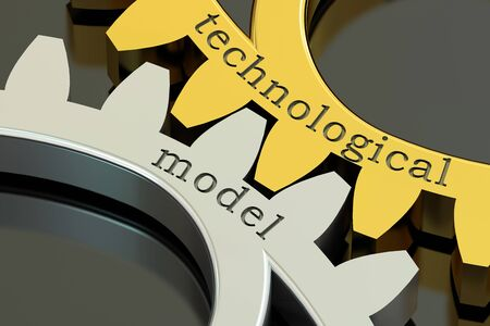 structured: Technological Model concept on the metallic gearwheels, 3D rendering Stock Photo