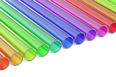 polymer: Colored acrylic plastic tubes, 3D rendering isolated on white background