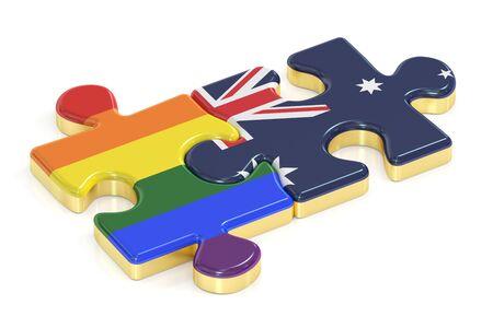 relaciones sexuales: Gay arco iris del orgullo y Australia rompecabezas de banderas, 3D Foto de archivo