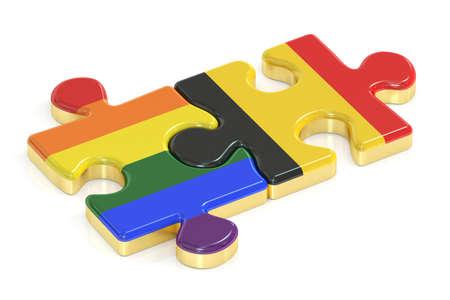 relaciones sexuales: Gay arco iris del orgullo y Bélgica rompecabezas de banderas, 3D Foto de archivo