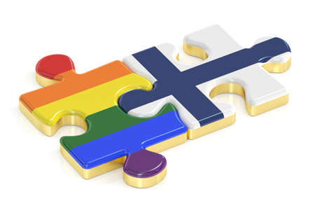 relaciones sexuales: Gay arco iris del orgullo y Finlandia rompecabezas de banderas, 3D