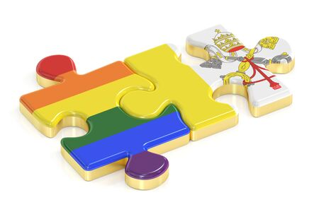 Gay Pride Rainbow and Vatican puzzles from flags, 3D rendering