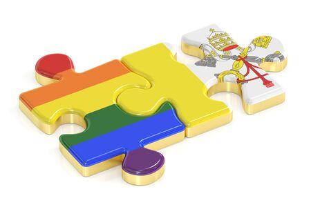 relaciones sexuales: Orgullo Gay del arco iris y los rompecabezas del Vaticano de banderas, 3D Foto de archivo