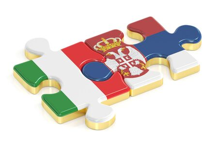 Italy and Serbia puzzles from flags, 3D rendering