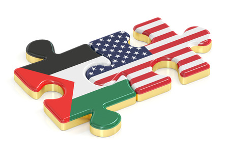 Palestine and USA puzzles from flags, 3D rendering Stock Photo