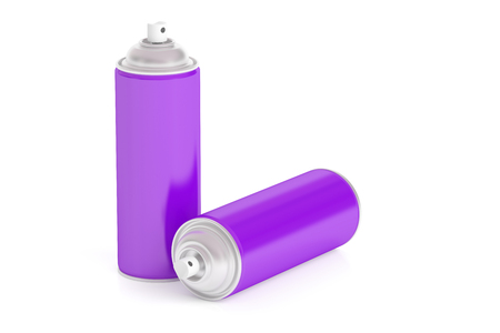 purple spray paint cans, 3D rendering isolated on white background