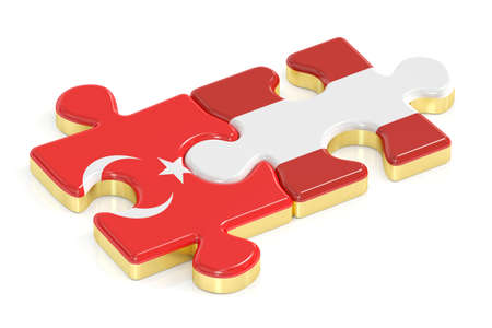 3d turkey: Turkey and Austria puzzles from flags, 3D rendering