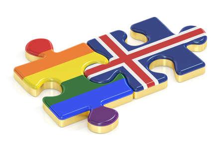 relaciones sexuales: Gay arco iris del orgullo e Islandia rompecabezas de banderas, 3D