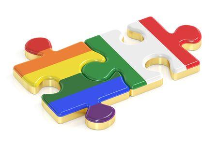 relaciones sexuales: Gay arco iris del orgullo e Italia rompecabezas de banderas, 3D