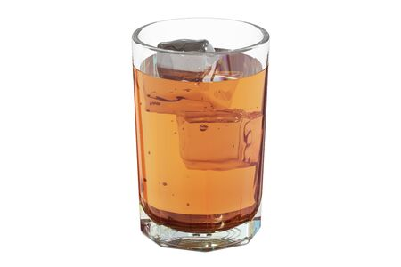 bourbon whisky: Glass with whiskey and ice, 3D rendering isolated on white background