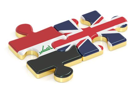 britain: Great Britain and Iraq puzzles from flags, 3D rendering