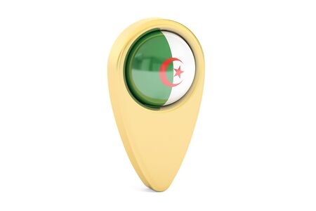 map pointer with flag of Algeria, 3D rendering isolated on white background