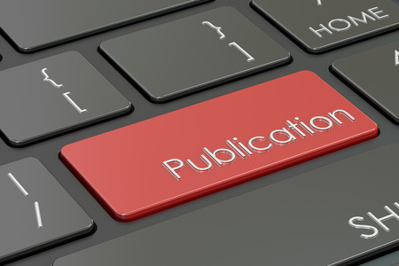 publication button, red key on keyboard. 3D rendering