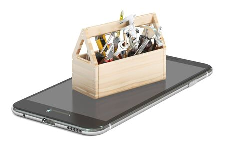 communications tools: service, software and repair smartphone concept, 3D rendering Stock Photo