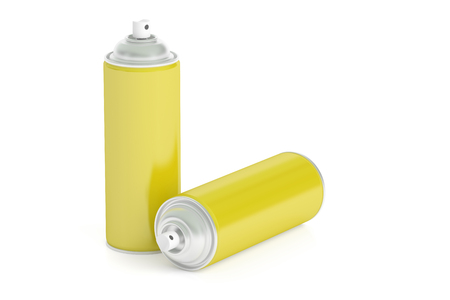 paint cans: yellow spray paint cans, 3D rendering isolated on white background