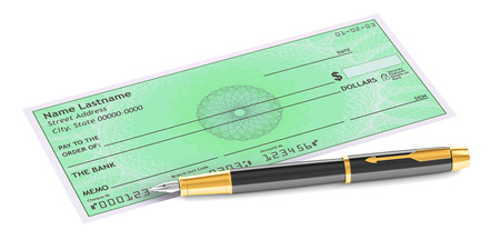 checkbook: cheque with fountain pen, 3D rendering isolated on white background