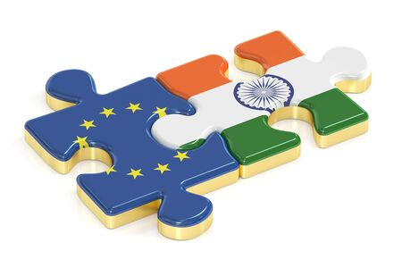 India and EU puzzles from flags, 3D rendering