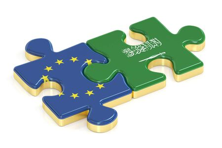 Saudi Arabia and EU puzzles from flags, 3D rendering