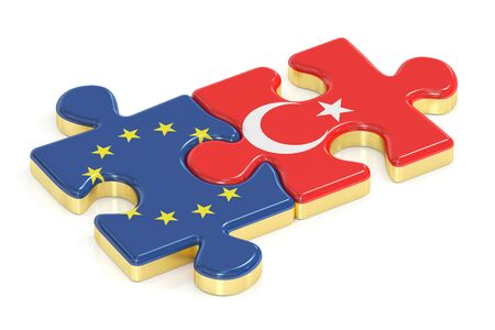 Turkey and EU puzzles from flags, 3D rendering