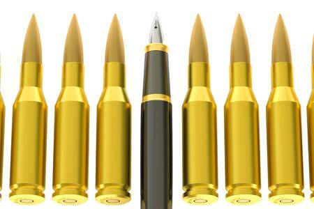 pen and bullets, information war concept. 3D rendering