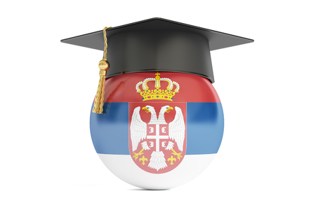 alumnus: education in Serbia, concept, 3D rendering isolated on white background