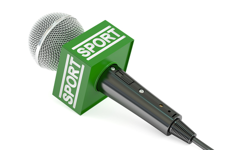microphone sport news, 3D rendering isolated on white background