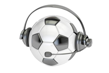 commentator: football ball with headset or headphones 3D rendering