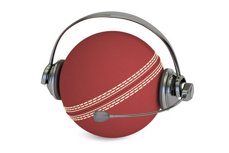 commentator: cricket ball with headset or headphones 3D rendering Stock Photo