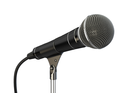 microphone on stand, 3D rendering isolated on white background Stock Photo