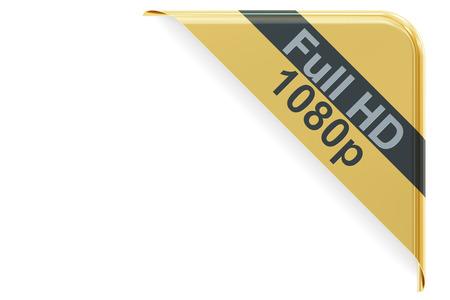 full hd: Full HD 1080 concept, corner 3D rendering