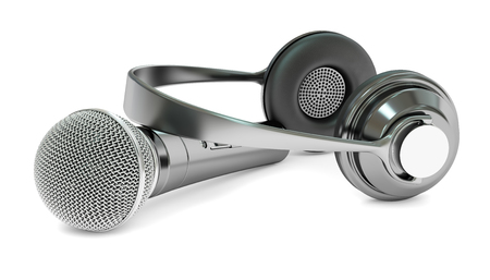 record breaking: microphone and headphones, 3D rendering