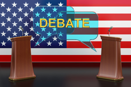 deliberation: USA american presidential debate concept with microphones and tribunes, 3D rendering isolated on white background