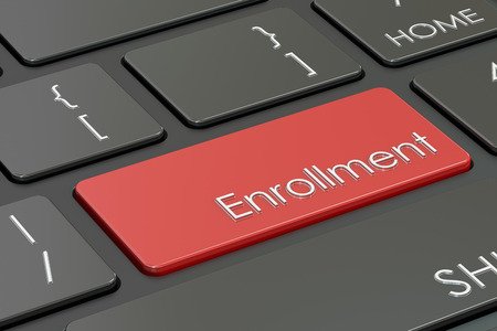 signup: enrollment button, red hot key on  keyboard. 3D rendering