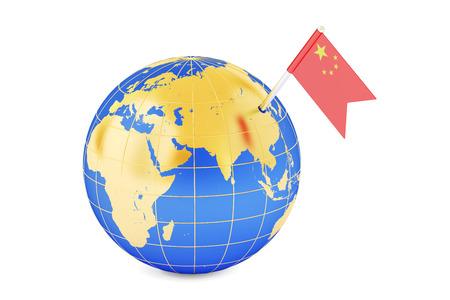 mapa de china: Pin del indicador chino en el mapa de mundo, 3D Foto de archivo