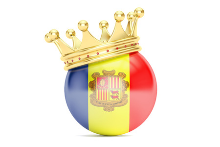 principality: Crown with flag Principality of Andorra, 3D rendering Stock Photo