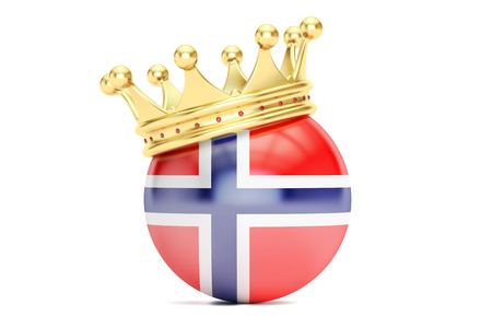 Crown with flag of Kingdom of Norway, 3D rendering