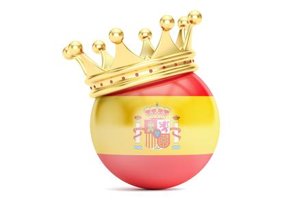 kingdom of spain: Crown with flag of Kingdom of Spain, 3D rendering