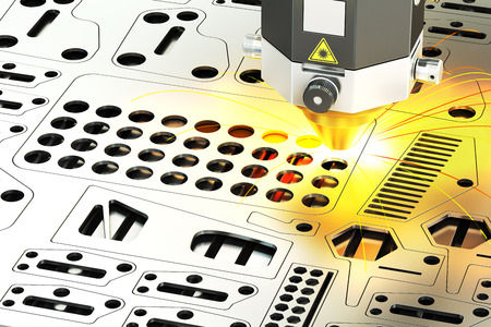metal cutting: Laser cutting of metal sheet with sparks, 3D rendering Stock Photo