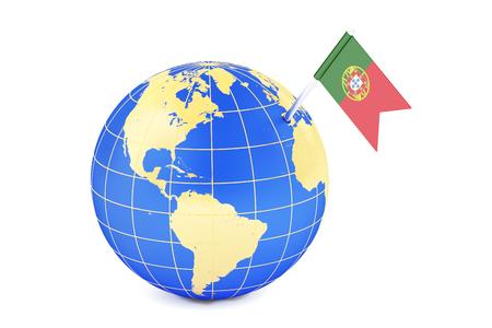 portuguese: Portuguese pin flag on globe map, 3D rendering Stock Photo