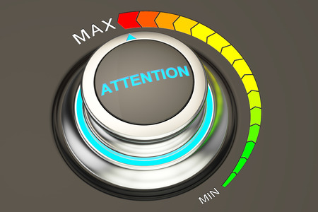 max: attention knob, max level of attention. 3D rendering Stock Photo
