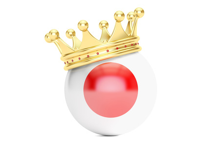 Crown with flag of Japan, 3D rendering Stock Photo