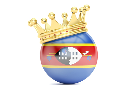 monarchy: Crown with flag of Kingdom of Swaziland, 3D rendering Stock Photo