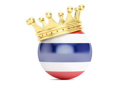 king thailand: Crown with flag of Kingdom of Thailand, 3D rendering