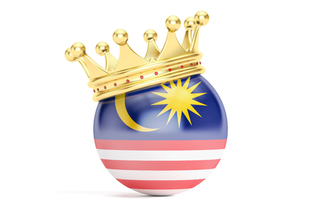 Crown with flag of Malaysia, 3D rendering