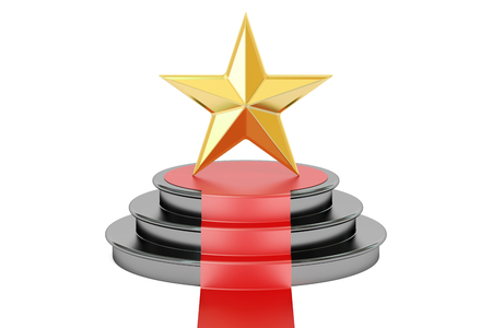 Golden star award, 3D rendering isolated on white background Stock Photo