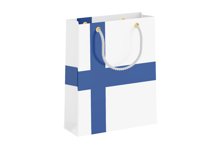 made in finland: Shopping bag with Finnish flag, 3D rendering isolated on white background