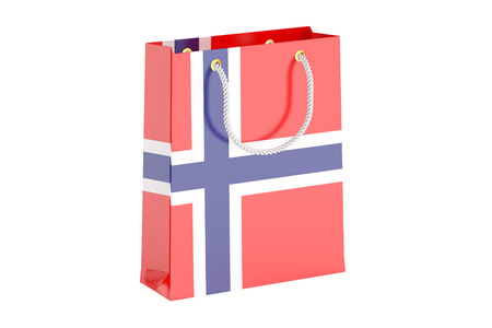 norwegian flag: Shopping bag with Norwegian flag, 3D rendering isolated on white background