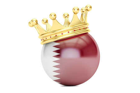 Crown with flag of Qatar, 3D rendering