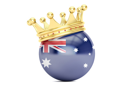 kingly: Crown with flag of Australia, 3D rendering isolated on white background