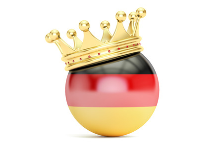 kingly: Crown with flag of Germany, 3D rendering isolated on white background